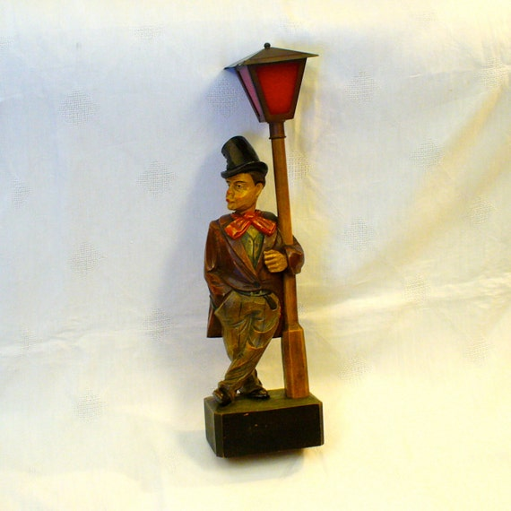 Vintage German WHISTLER Hand Carved Wood Automation Man with Top Hat Clockwork Novelty Barware