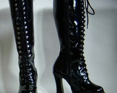 Black patent leather lace up platform boots womens size 7