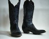Tony Lama Black leather Lizard western boots womens size 8M