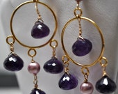 Amethyst Earrings, Gold Chandelier Earrings, February Birthstone Jewelry, Handmade Wire Wrap Gemstone Jewelry