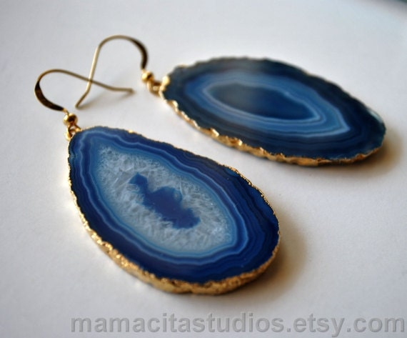 Large Blue Agate Slice Gold Gemstone Earrings, Natural Druzy Jewelry