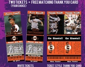 Printable San Francisco Giants Baseball Ticket Style Invitations & Free Matching Thank You Card-DIY
