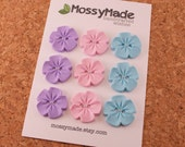 Buttons Vintage Flower Style - Pretty Posies (rose, lilac & baby blue)