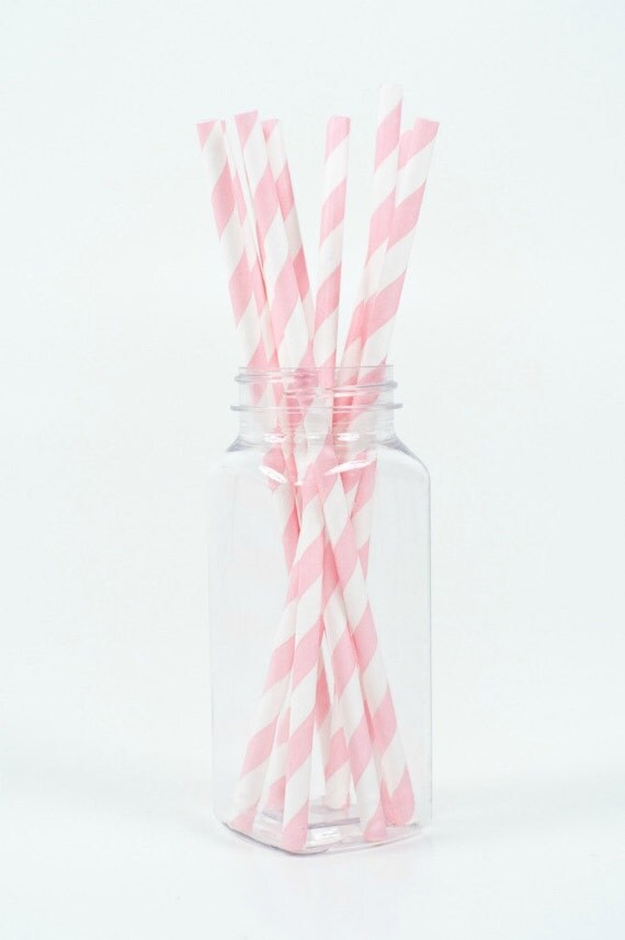 25 Bubblegum Pink Striped Paper Straws and Free DIY Printable Flags