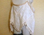 Vintage Linens Tank Top Womans Tea Stain Dyed Crochet Trim Hankie Hem Size Large to XXL TREASURY ITEM X6