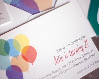 Printable Balloon Birthday Invitations - Personalized - Boy, Girl, Gender Neutral