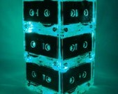 Green Repurposed Upcycled MixTape Night Light Lamp Centerpiece Cassette Tape Mood Light