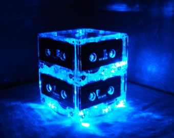 Music Theme Wedding Table Event Centerpiece Blue Cassette Tape Mixtape Lighted Centerpiece 80s Party Centerpiece