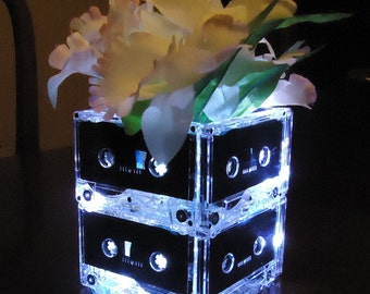 Wedding Table Centerpiece Audio Cassette Tape Night Light Lamp Upcycled Retro Ecofriendly