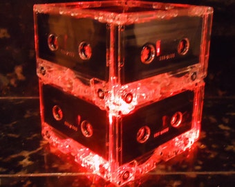 Cassette Tape Lamp Red Night Light Centerpice Mood Light Red Mixtape Night Light Repurposed Eco Friendly Upcycled