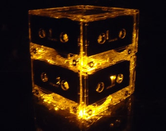 Gold Amber Cassette Tape Mood Light Mix Tape Night Light Lamp Centerpiece repurposed cassette tapes upcycled