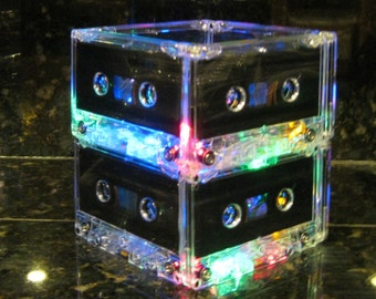 Rainbow colors Cassette Tape Lamp Mood Light MixTape Night Light Lamp Upcycled EcoFriendly