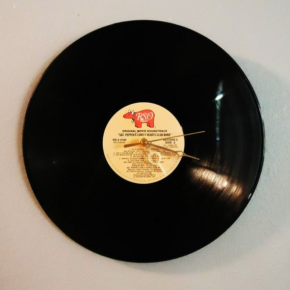 """Vinyl Record Wall Clock Bee Gees/Peter Frampton """"Sgt. Pepper's Lonely Hearts Club Band"""""""