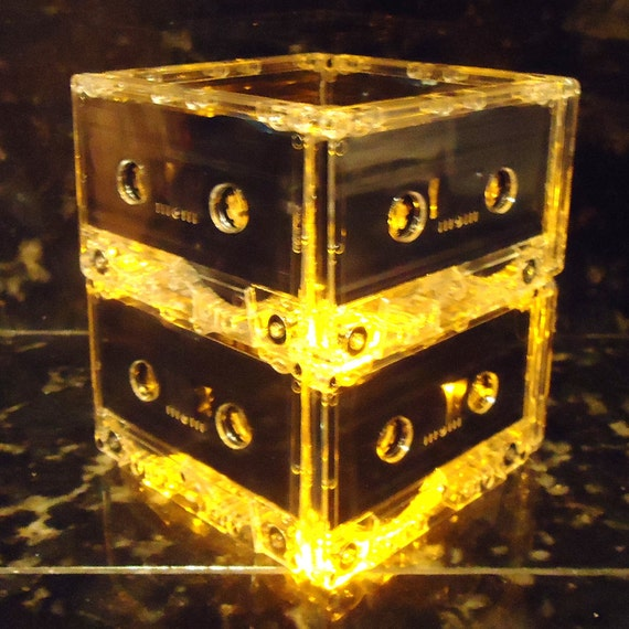 Music Lovers Gold Cassette Tape Mixtape Night Light Lamp Upcycled Mood Light
