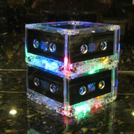 Rainbow colors Cassette Tape Lamp Mood Light MixTape Night Light Lamp Upcycled EcoFriendly