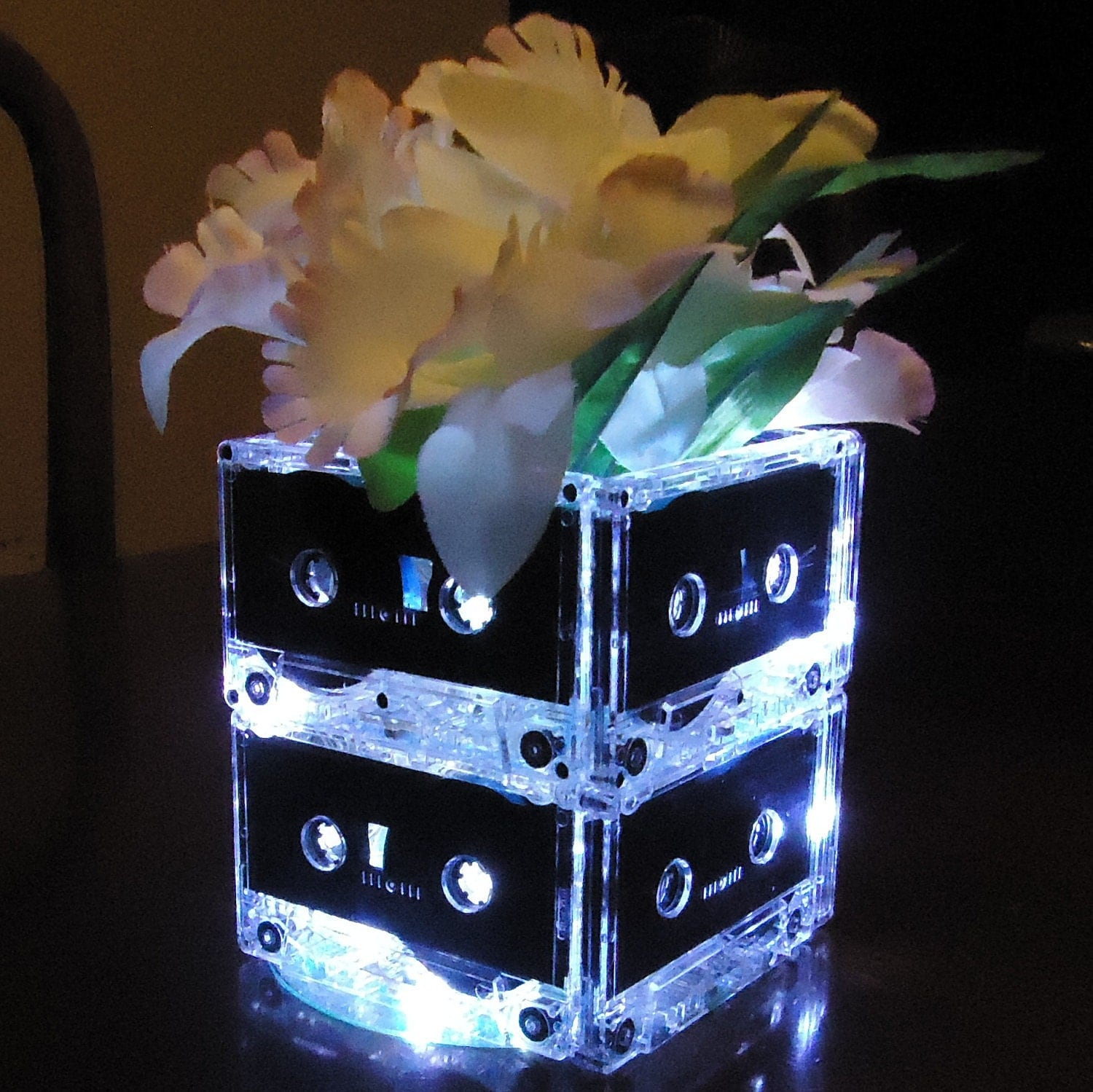 Music themed wedding centerpiece or party table lighted - 20 Music Themed Wedding Centerpieces Mixtape Cassette Tape