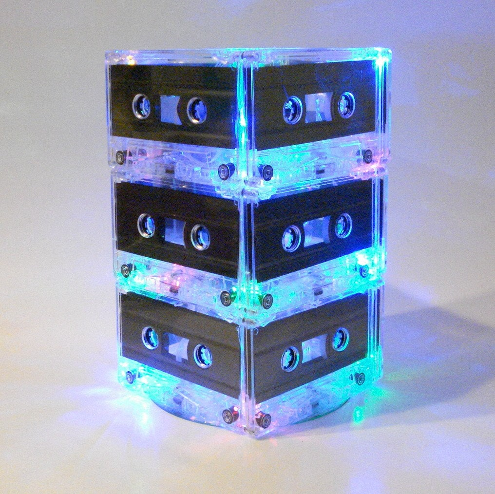music themed wedding table centerpiece mixtape light 80s 90s