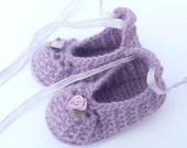 Crochet PATTERN BABY Booties - Posh Purple Party Shoes - INSTANT Download