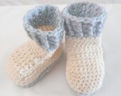 Crochet PATTERN BABY Booties Cream Crocheted Baby Boots - INSTANT Download