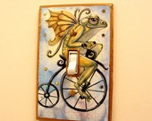 Frog Fairy on Bicycle Fantasy Art light switch plate cover