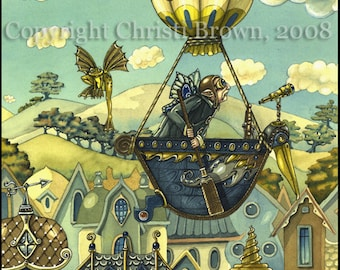 Steampunk Fairy Hot Air Balloon Ship Fine Art Print 8 x 10
