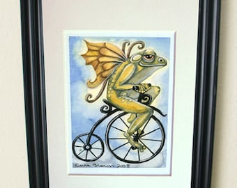 Frog Fairy Riding Bicycle painting in watercolor matted print