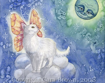 Angel Cat Fairy Art print white winged cat watercolor painting smile moon face fantasy art