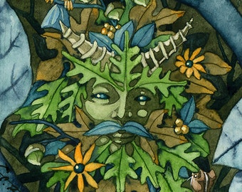 Green Man Celtic God of the Forest watercolor painting matted print