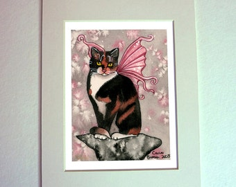 Calico Cat Fairy Angel watercolor painting fine art print matted for 5 x 7 frame