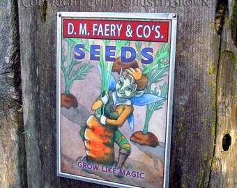 Fairy Garden Art Tin Sign for indoor or outdoor Carrot seeds