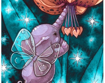 Baby Elephant Fairy Fine Art Fantasy ACEO print on Recycled paper