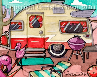 Travel trailer art print retro 1950s mid century camper watercolor painting