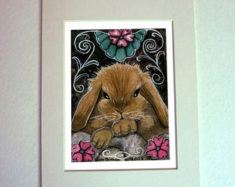 Baby Bunny Watercolor Painting 5 x 7 matted art print cute Lop Eared