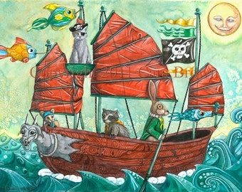 Pirate Ship painting for boys room or nursery decor 8 x 10 art print animal pirates