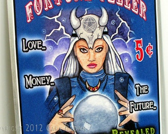 Fortune Teller sign yard art indoor or outdoor tin sign gypsy crystal ball