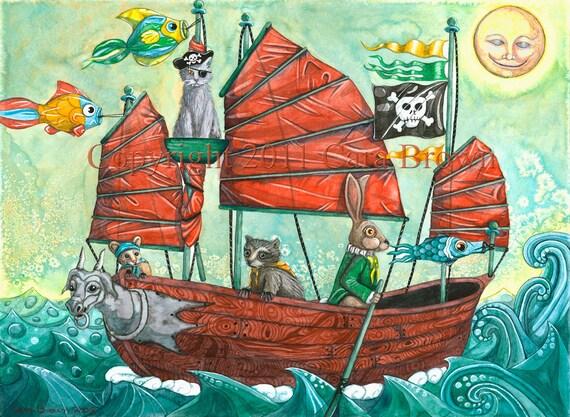 Pirate Ship Nursery Art Painting Animals Boys Room Decor matted print
