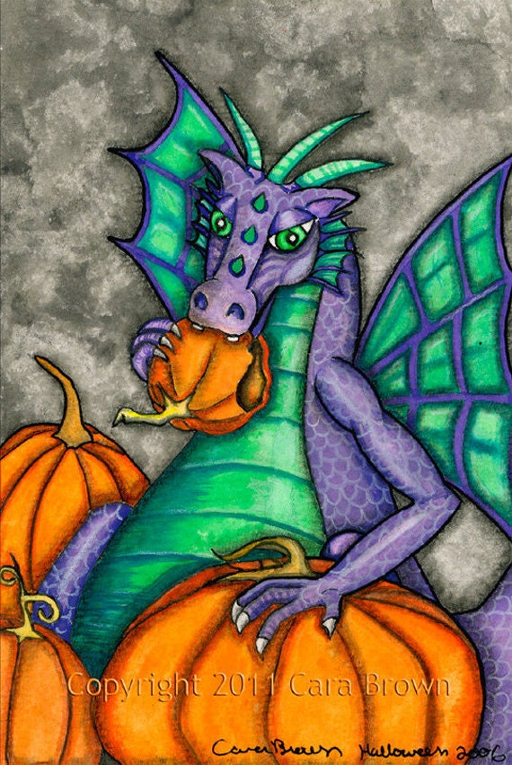 Dragon Greeting Card painting in watercolor framable art print blank inside purple pumpkin eater
