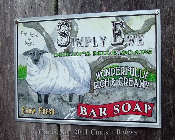 """Sheep Tin Sign Fantasy Advertisement Yard Art for indoor or outdoor use 5"""" x 7"""""""