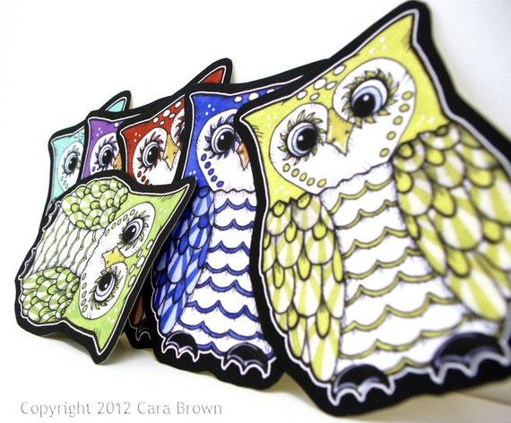Owl Stickers Vinyl Decals Waterproof Car or craft, indoor/outdoor, cute rainbow set of 6