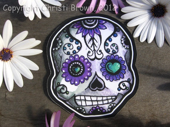 Sugar Skull sticker waterproof vinyl car decal Day of the Dead large dad size