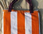 Combination Beach Towel & Bag (Orange Stripes and Purple)