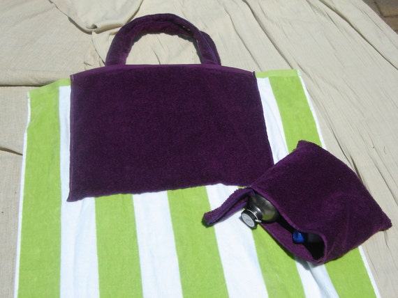 Combination Beach Towel & Bag (Green Stripes and Purple)
