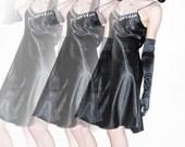 New York Chemise - black satin night dress with dripping diamante trim - Size Medium UK 10 - 12 / US 6 - 8 / EUR 38 - 40 - lingerie