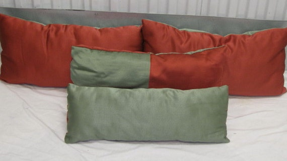 Small Green Decorative Pillow : Small Long Green and Coral Throw Pillow Set