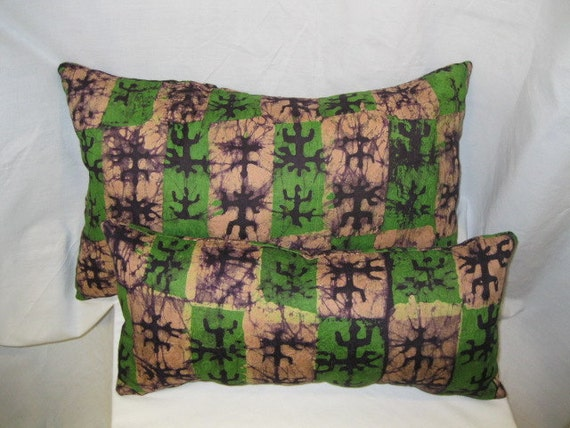 Small Green Throw Pillow : 1 Medium 1 Small Throw Pillows in Mauve Green and Brown