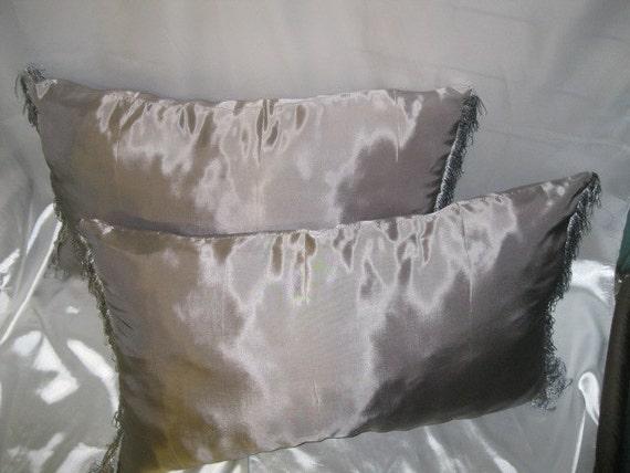 Two 2 Large Grey Throw Pillows