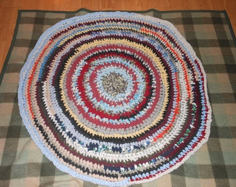 Multi-Colored Round Crochet Rag Rug-Colors of a Rainbow By Melmac