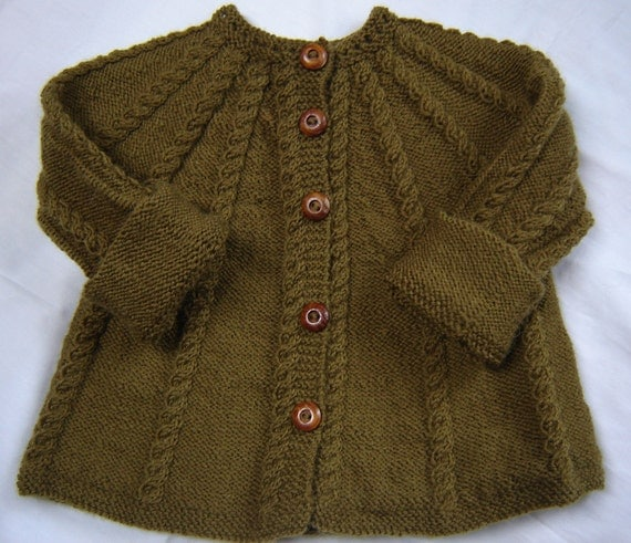 Baby Sweater Hand Knit Wool Olive Green Size 3m