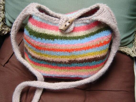 Handmade Felted Bag Tote Hand Knit Crochet Wool Stripes