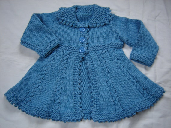 Baby Girl Toddler Sweater Coat Swing Style Hand Knit Crochet Size 12M - 18M